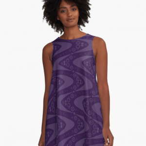 Purple a-line dress with retro boomerang all-over pattern