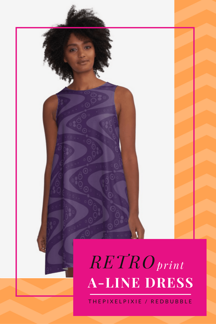 A-Line Dress in purple with retro spirals, boomerangs, etc. By thePixelPixie, through RedBubble